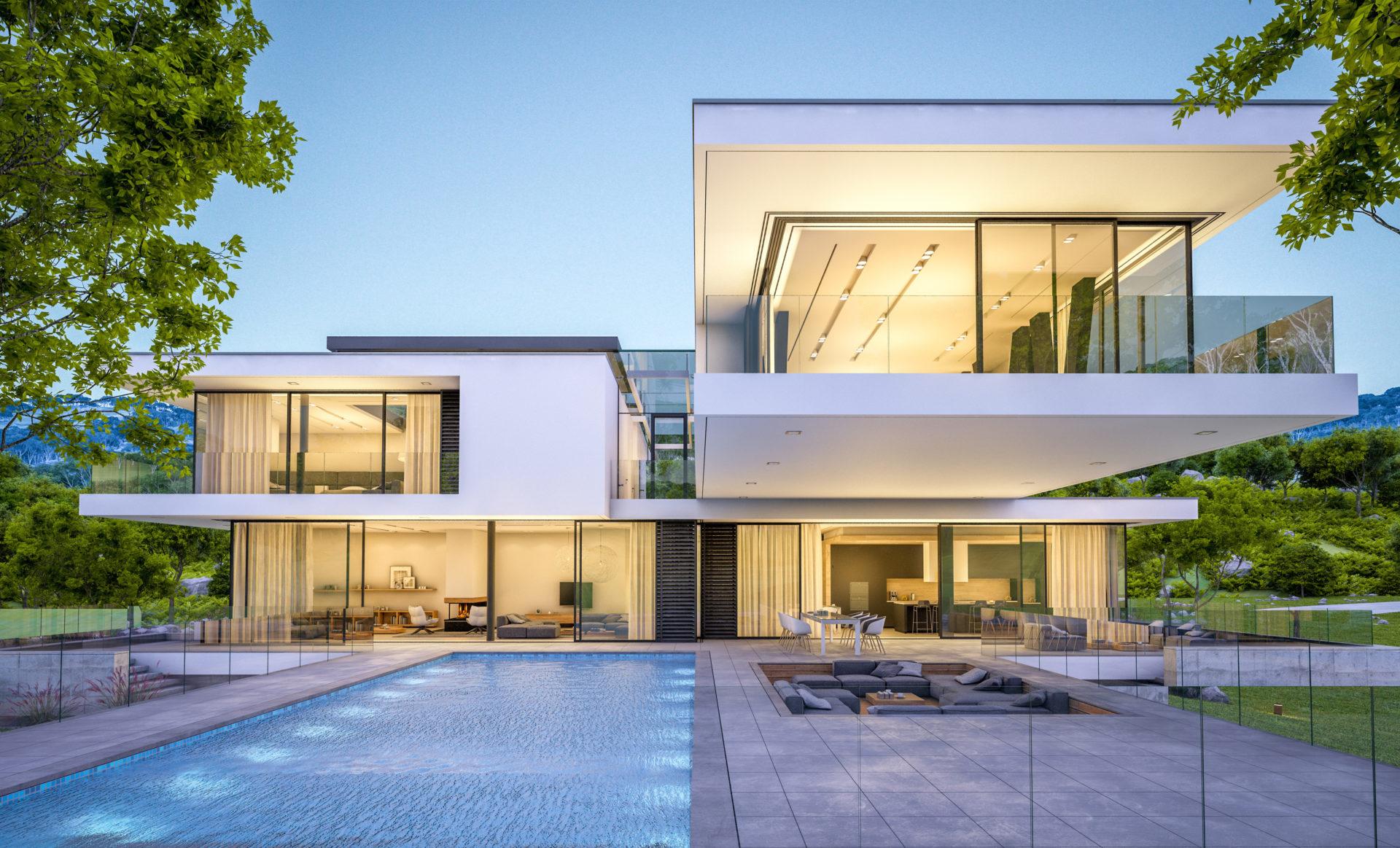 maison moderne avec éclairage design