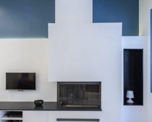 meuble télé contemporain avec cheminée