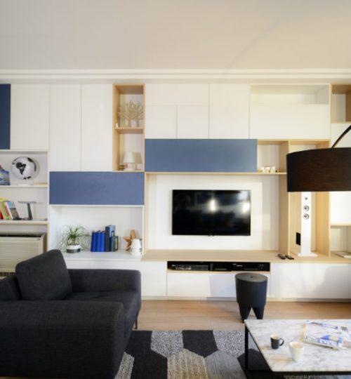 meuble télé moderne installation télé suspendu