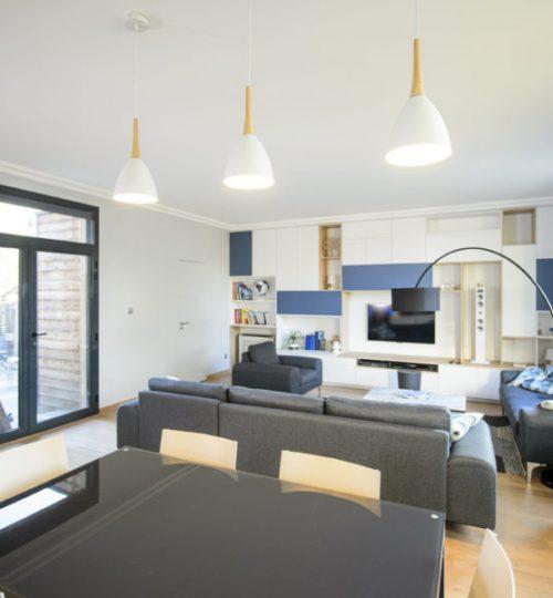 salon avec éclairage suspendu design